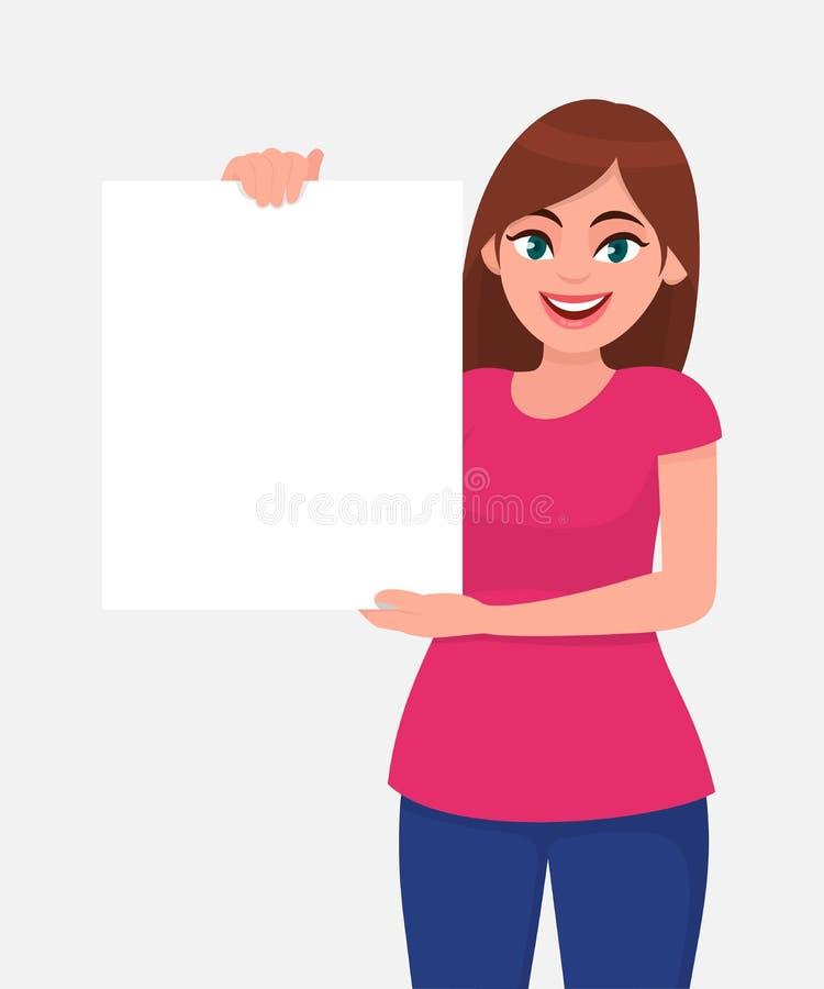 Νέα όμορφη γυναίκα που χαμογελά και που κρατά ένα κενό/κενό φύλλο της Λευκής Βίβλου ή του πίνακα Γυναίκα που παρουσιάζει κενή αφί διανυσματική απεικόνιση