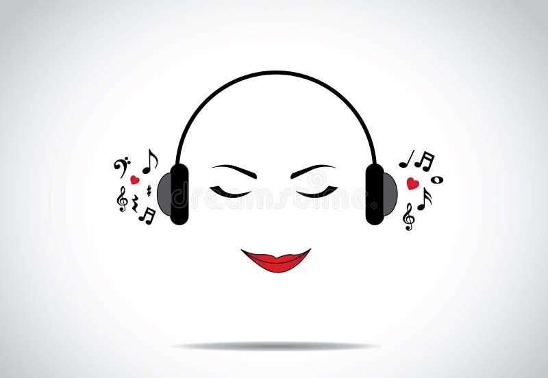 Νέα όμορφη γυναικεία ή κοριτσιών ή γυναικών απεικόνιση του ακούσματος τη μεγάλη μουσική με τις ιδιαίτερες προσοχές διανυσματική απεικόνιση