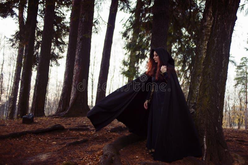 Νέα όμορφη και μυστήρια γυναίκα στα ξύλα, στο μαύρο επενδύτη με την κουκούλα, εικόνα της δασικής νεράιδας ή της μάγισσας στοκ φωτογραφίες
