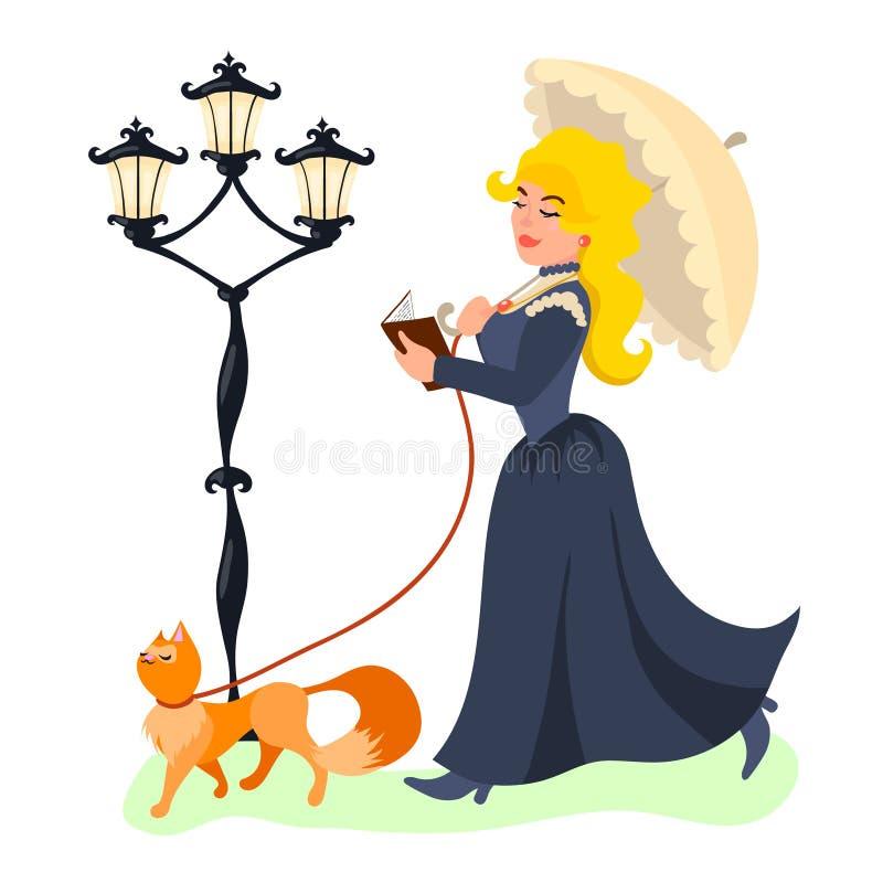 Νέα όμορφη κυρία που περπατά με τη γάτα της και που διαβάζει το βιβλίο απεικόνιση αποθεμάτων