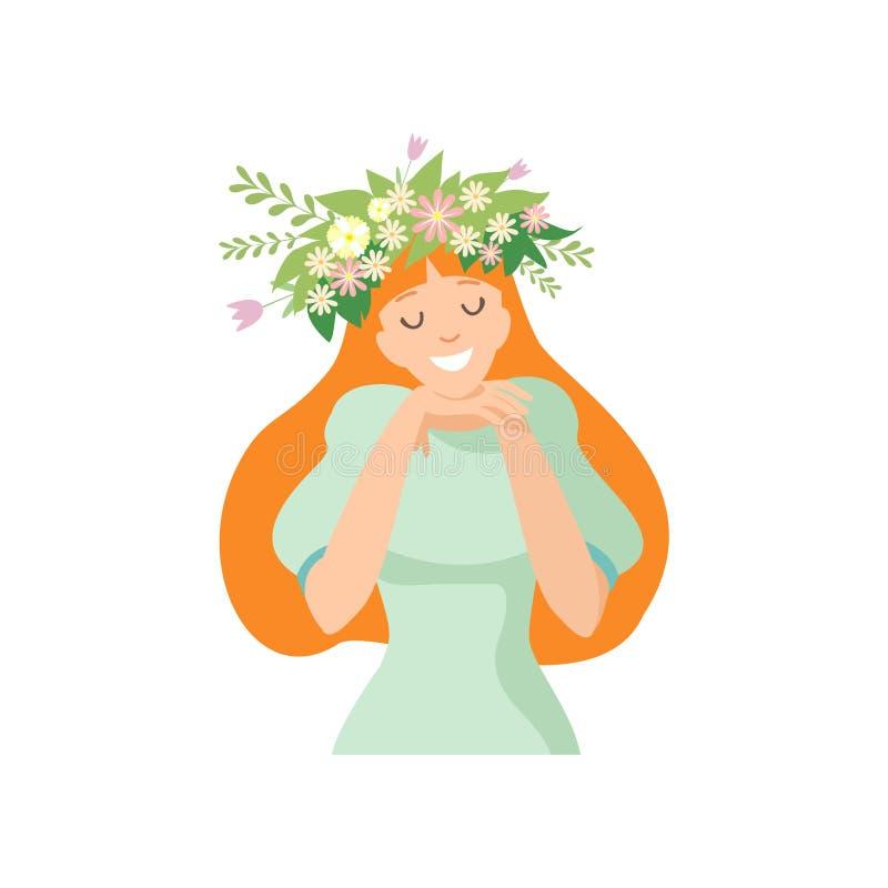 Νέα όμορφη μακρυμάλλης γυναίκα με το στεφάνι λουλουδιών στην τρίχα της, πορτρέτο του κομψού χαμογελώντας κοριτσιού με το Floral σ ελεύθερη απεικόνιση δικαιώματος