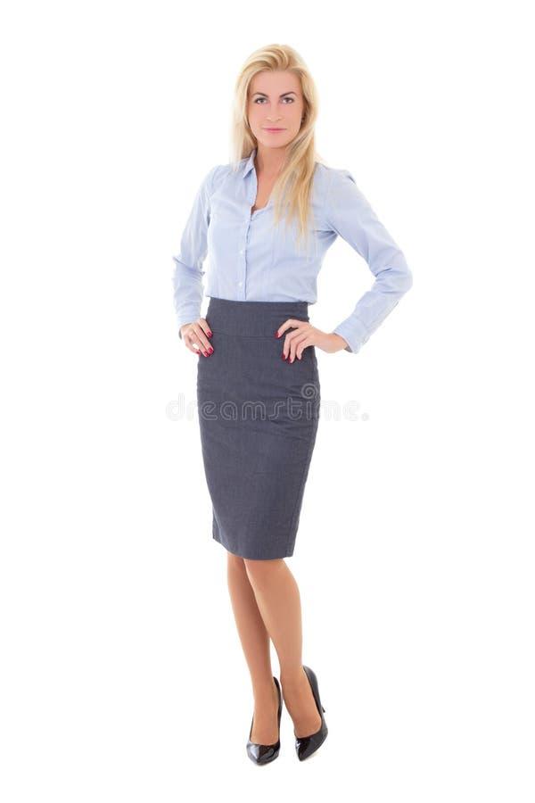 Νέα όμορφη στάση επιχειρησιακών γυναικών που απομονώνεται στο λευκό στοκ φωτογραφίες
