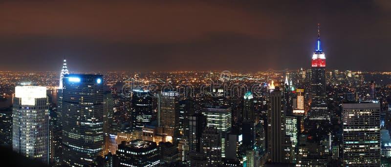 νέα όψη Υόρκη πανοράματος νύχ&ta στοκ εικόνα