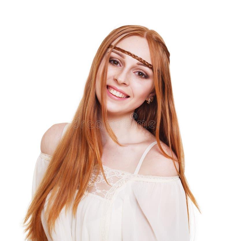 Νέα redhead γυναίκα ύφους χίπηδων Boho στοκ εικόνες με δικαίωμα ελεύθερης χρήσης