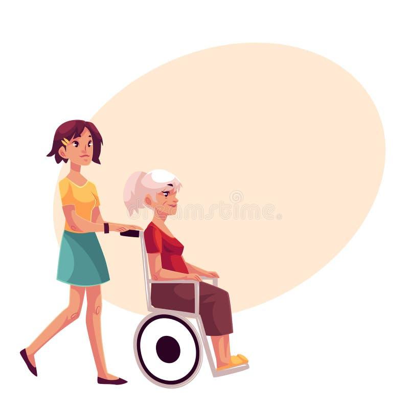 Νέα strolling γιαγιά γυναικών στην αναπηρική καρέκλα ελεύθερη απεικόνιση δικαιώματος