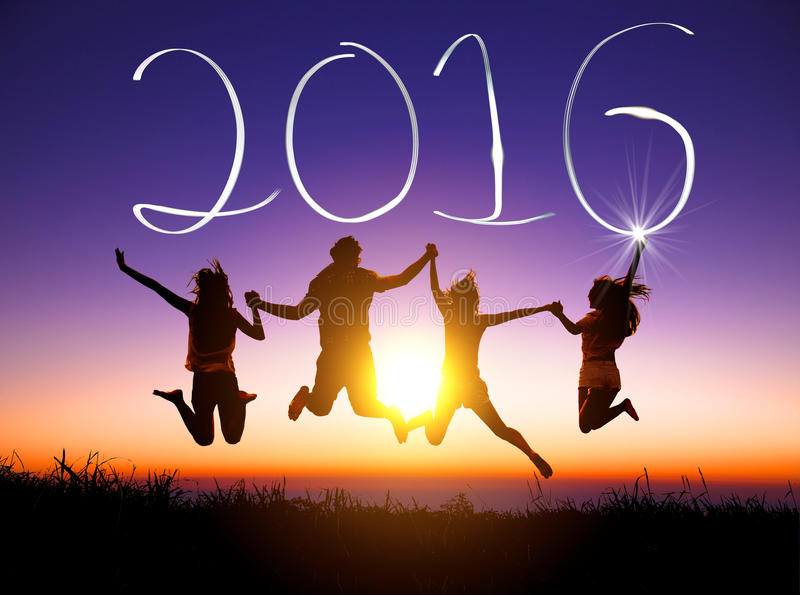 Νέες άλμα και καλή χρονιά 2016 ομάδας στοκ φωτογραφίες με δικαίωμα ελεύθερης χρήσης