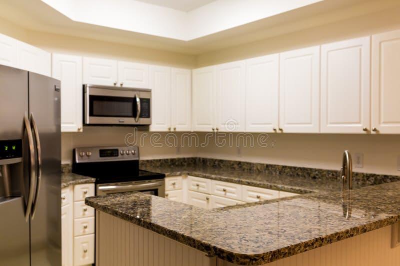 Νέες αντίθετες και ανοξείδωτες συσκευές γρανίτη στην άσπρη κουζίνα στοκ εικόνες με δικαίωμα ελεύθερης χρήσης
