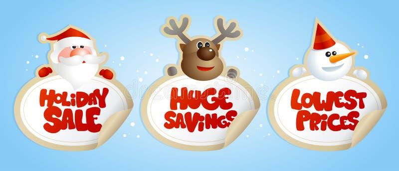 Νέες αυτοκόλλητες ετικέττες πώλησης έτους με Santa, τα ελάφια και το χιονάνθρωπο διανυσματική απεικόνιση