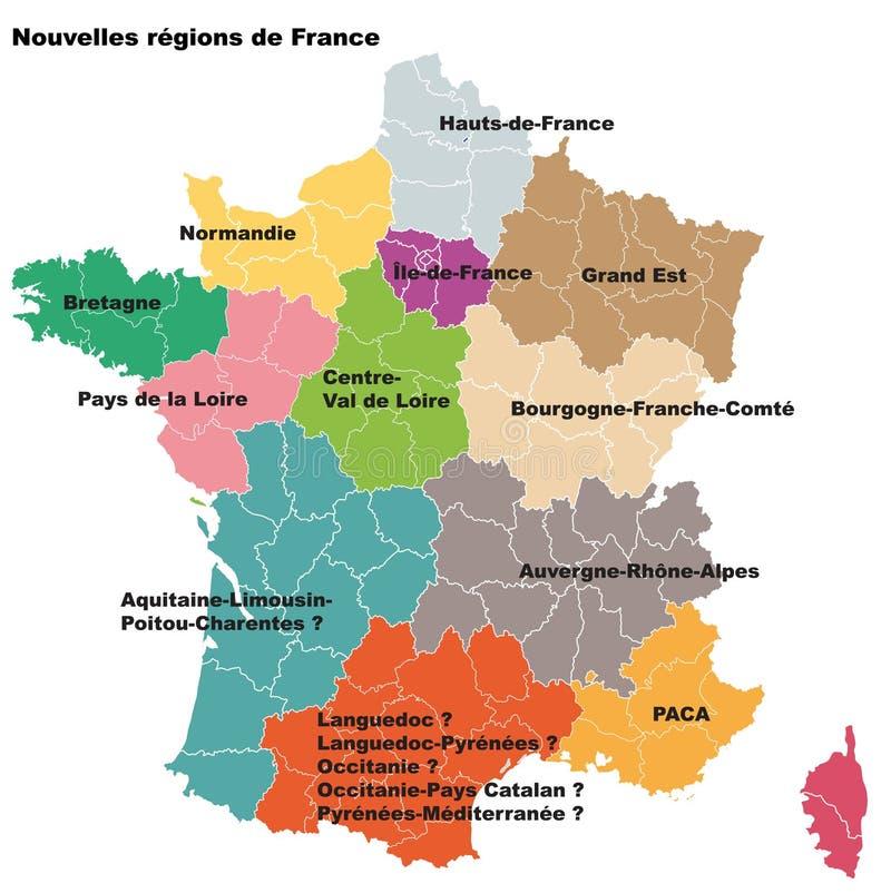 Νέες γαλλικές περιοχές Περιοχές de Γαλλία νουβελών απεικόνιση αποθεμάτων