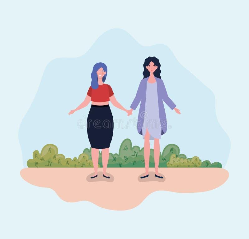 Νέες γυναίκες ζευγών που στέκονται στο στρατόπεδο διανυσματική απεικόνιση