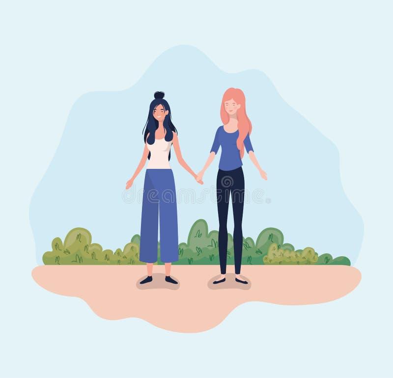 Νέες γυναίκες ζευγών που στέκονται στο στρατόπεδο ελεύθερη απεικόνιση δικαιώματος