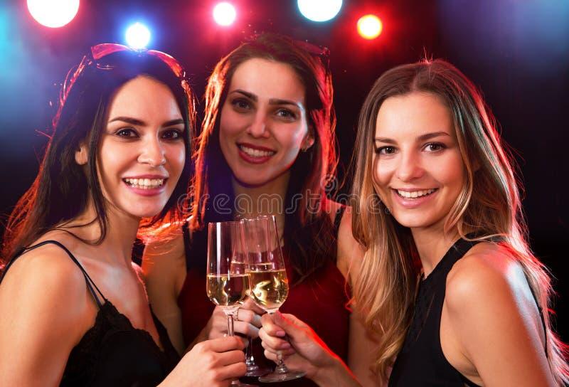 Νέες γυναίκες με τα ποτήρια του κρασιού στοκ φωτογραφίες με δικαίωμα ελεύθερης χρήσης