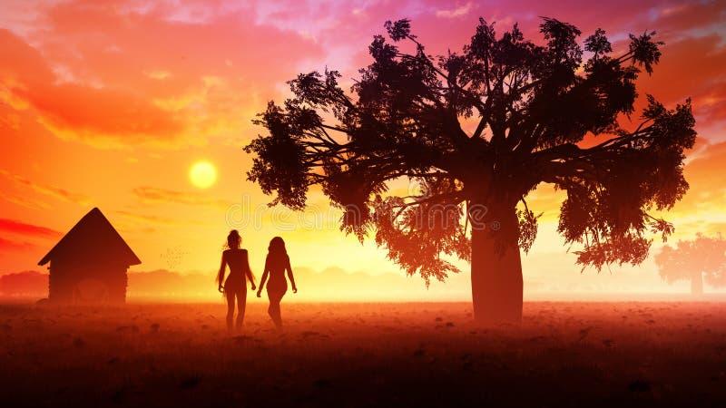 Νέες γυναίκες στο ηλιοβασίλεμα λιβαδιών διανυσματική απεικόνιση