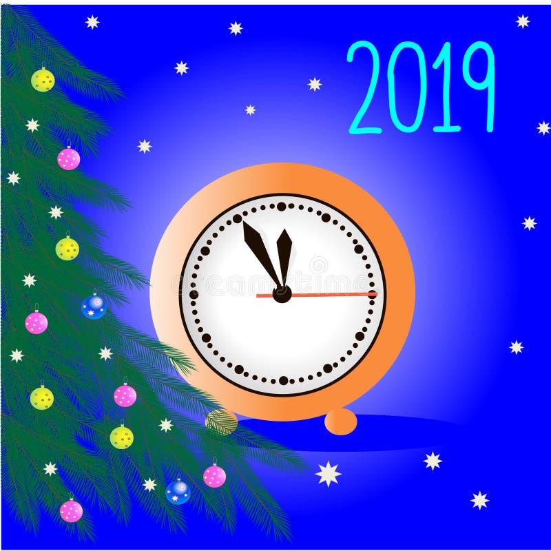 Νέες διακοπές έτους ` s Κλάδοι ενός νέου δέντρου έτους Διαφορετικός-χρωματισμένες σφαίρες Χριστουγέννων διανυσματική απεικόνιση