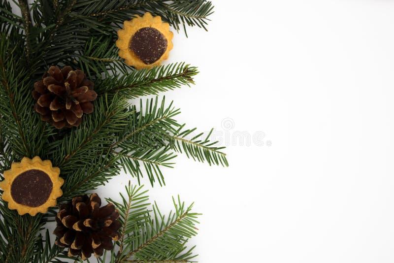 Νέες διακοσμήσεις έτους στο άσπρο υπόβαθρο στοκ φωτογραφία