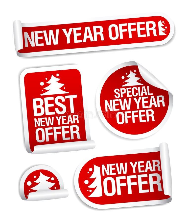 Νέες διανυσματικές αυτοκόλλητες ετικέττες προσφοράς πώλησης έτους απεικόνιση αποθεμάτων