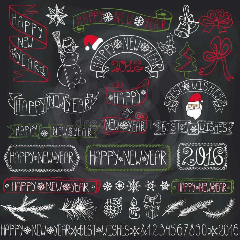 Νέες ετικέτες διακοσμήσεων έτους, κορδέλλες, εγγραφή chalkboard ελεύθερη απεικόνιση δικαιώματος