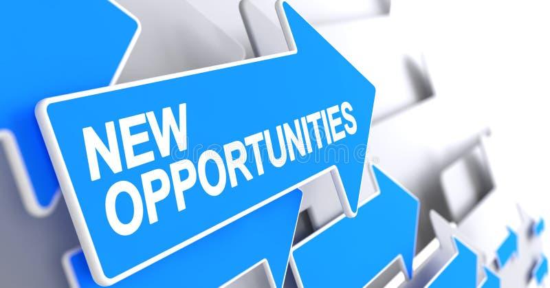Νέες ευκαιρίες - ετικέτα στον μπλε δείκτη τρισδιάστατος απεικόνιση αποθεμάτων