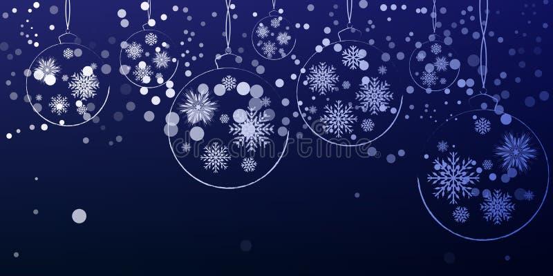 Νέες διακοσμήσεις Χριστουγέννων έτους που κρεμούν σε ένα μπλε υπόβαθρο ελεύθερη απεικόνιση δικαιώματος