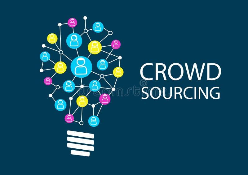 Νέες ιδέες πρόσβασης πλήθους μέσω του κοινωνικού 'brainstorming' δικτύων διανυσματική απεικόνιση