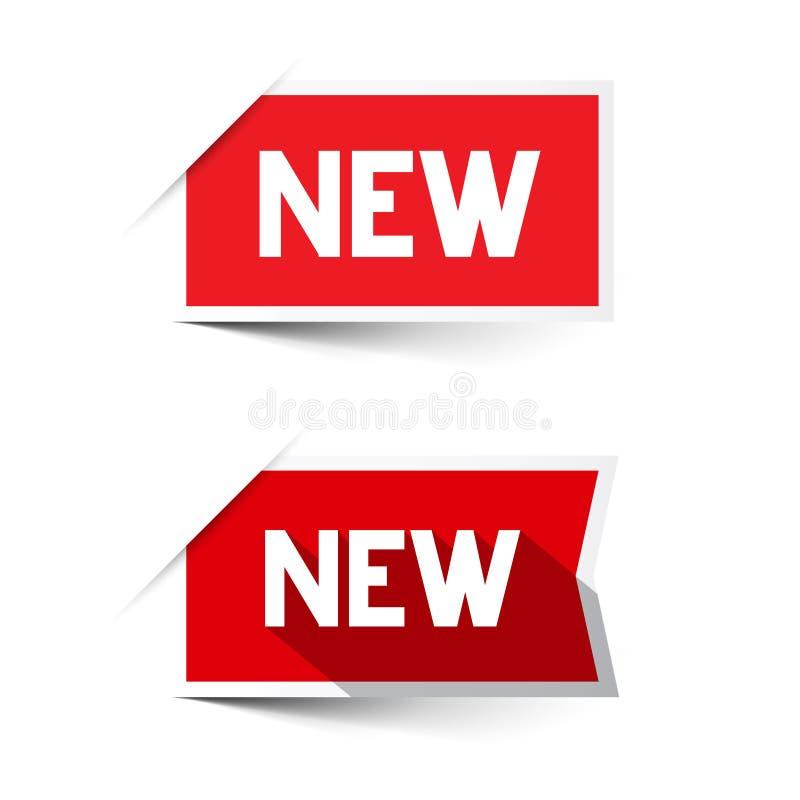 Νέες κόκκινες διανυσματικές ετικέτες εγγράφου απεικόνιση αποθεμάτων