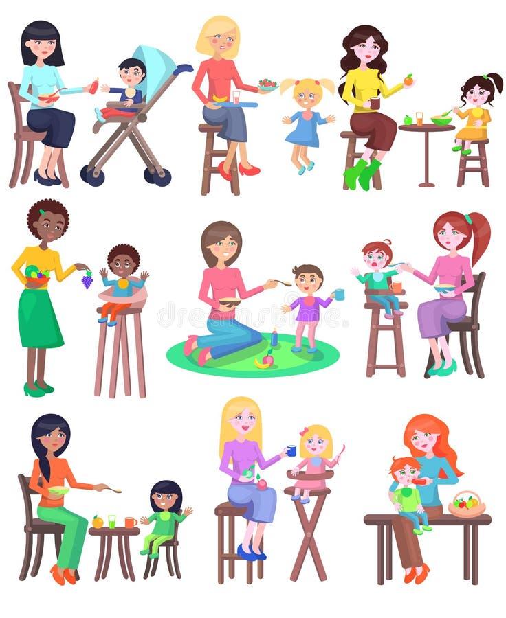 Νέες μητέρες που ταΐζουν τα μωρά καθορισμένα kindergarten διανυσματική απεικόνιση