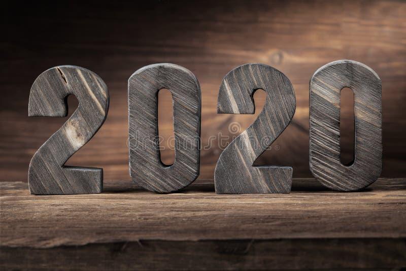 2020 νέες ξύλινες επιστολές ετών στο ξύλινο υπόβαθρο στοκ φωτογραφία με δικαίωμα ελεύθερης χρήσης