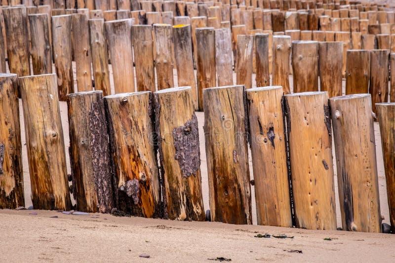 Νέες ξύλινες παράκτιες προστασίες στην παραλία Dunster στοκ φωτογραφία με δικαίωμα ελεύθερης χρήσης