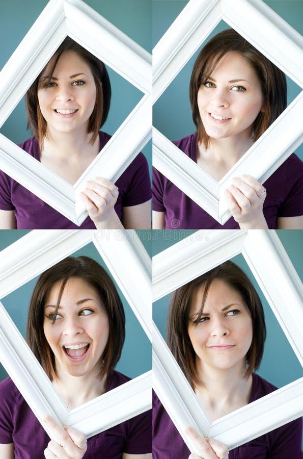 Νέες πλαισιωμένες womans εκφράσεις στοκ εικόνες