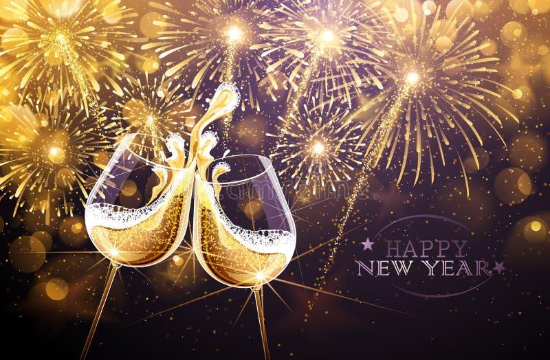 Νέες πυροτεχνήματα και σαμπάνια έτους διανυσματική απεικόνιση