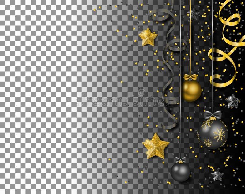 Νέες σφαίρες έτους Χαρούμενα Χριστούγεννας με το διάνυσμα αστεριών ταινιών κομφετί που απομονώνεται διανυσματική απεικόνιση