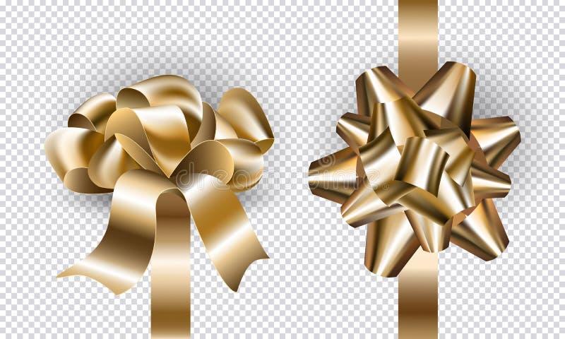 Νέες τόξα και κορδέλλες έτους διακοπών δώρων που τίθενται για το σχέδιο Η ρεαλιστική χρυσή πλαστή επάνω τοπ και πλάγια όψη τόξων  ελεύθερη απεικόνιση δικαιώματος