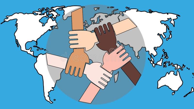 Νέοι άνθρωποι που ενώνουν τα χέρια τους Φίλοι με στοίβα χεριών που δείχνουν ενότητα και ομαδική εργασία, κορυφαία θέα ελεύθερη απεικόνιση δικαιώματος