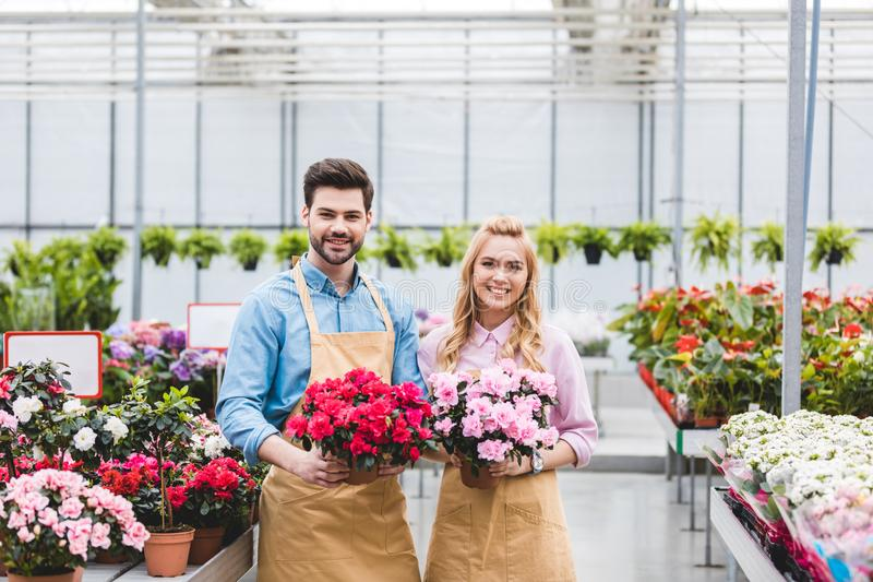 Νέοι αρσενικοί και θηλυκοί κηπουροί που κρατούν τα δοχεία στοκ εικόνα