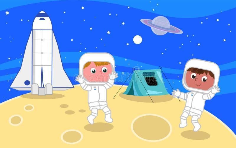 Νέοι αστροναύτες στο φεγγάρι ελεύθερη απεικόνιση δικαιώματος