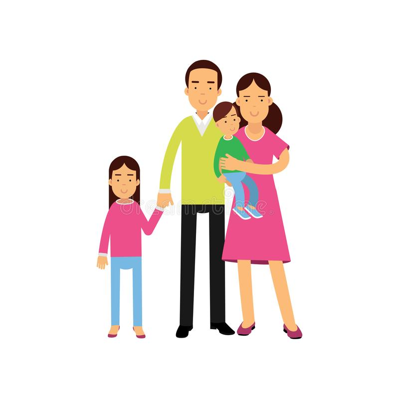 Νέοι γονείς που στέκονται με δύο παιδιά τους, ευτυχής διανυσματική απεικόνιση οικογενειακής έννοιας διανυσματική απεικόνιση