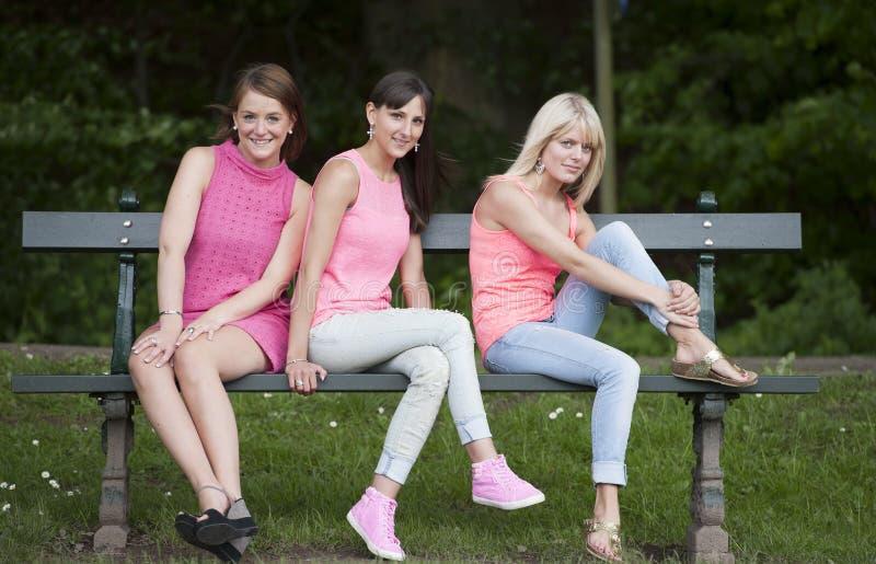 Νέοι θηλυκοί φίλοι Hree που κάθονται σε έναν πάγκο, υπαίθρια στοκ εικόνες