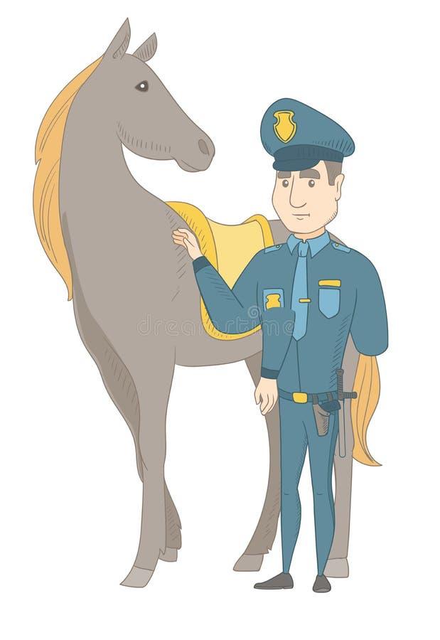 Νέοι καυκάσιοι αστυνομικός και άλογο διανυσματική απεικόνιση