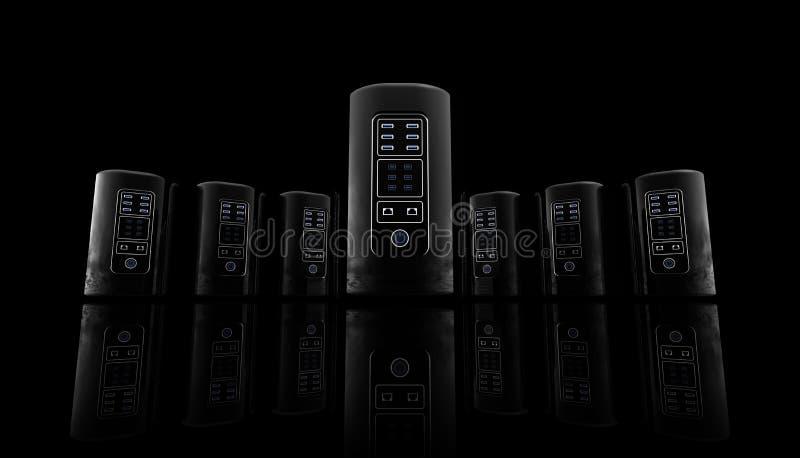 Νέοι κεντρικοί υπολογιστές ύφους για τον ιστοχώρο και έμβλημα στο μαύρο υπόβαθρο, κεντρικοί υπολογιστές Διαδικτύου, φιλοξενώντας  στοκ εικόνες