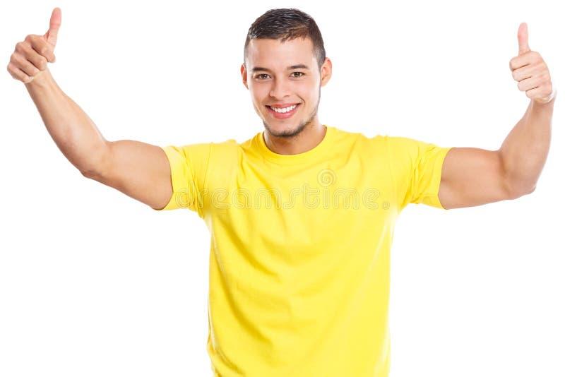 Νέοι λατινικοί ατόμων ευτυχείς αντίχειρες χαμόγελου επιτυχίας επιτυχείς επάνω στους ανθρώπους που απομονώνονται στο λευκό στοκ εικόνες