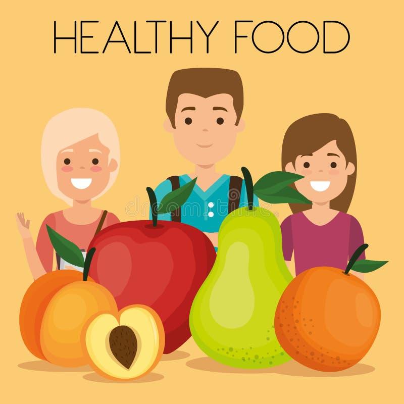 Νέοι με τα υγιή τρόφιμα φρούτων διανυσματική απεικόνιση
