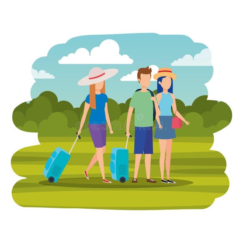 Νέοι με τις βαλίτσες στο στρατόπεδο απεικόνιση αποθεμάτων