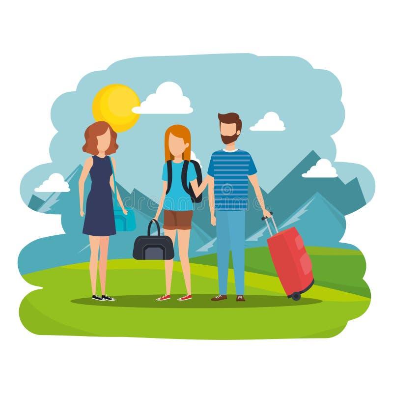 Νέοι με τις βαλίτσες στο στρατόπεδο ελεύθερη απεικόνιση δικαιώματος