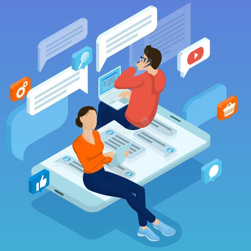 Νέοι που κάνουν τα κοινωνικά σχόλια δικτύων απεικόνιση αποθεμάτων