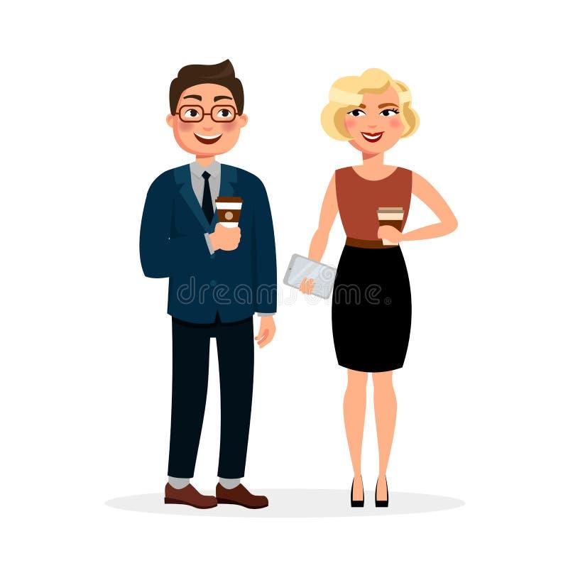 Νέοι που συναντούν και που πίνουν τον καφέ υπαίθρια Δύο επιχειρηματίες στο μεσημεριανό γεύμα ή το πρόγευμα που έχει το επιχειρησι διανυσματική απεικόνιση