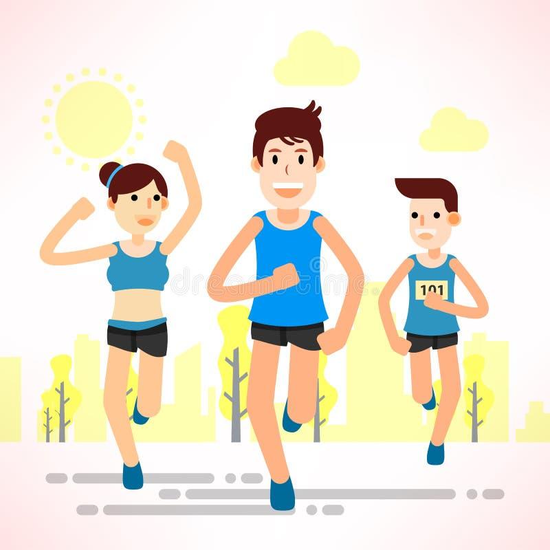 Νέοι που τρέχουν και που εκπαιδεύουν για τον αθλητισμό μαραθωνίου διανυσματική απεικόνιση