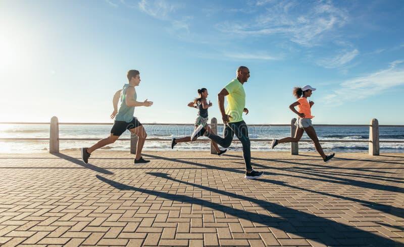 Νέοι που τρέχουν κατά μήκος της παραλίας στοκ εικόνες με δικαίωμα ελεύθερης χρήσης