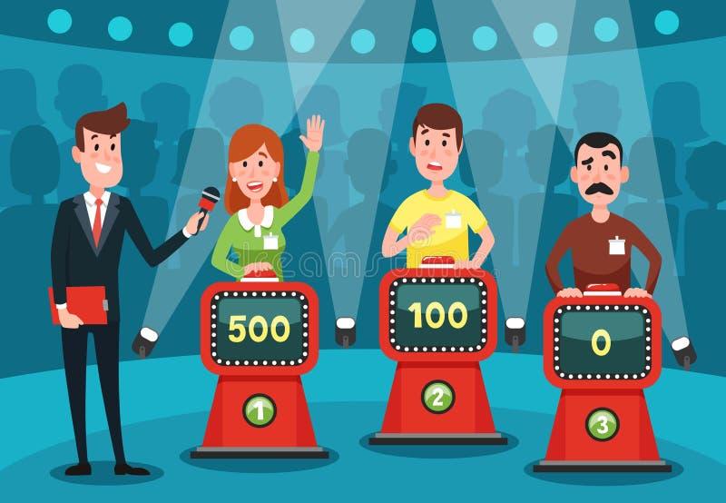 Νέοι που υποθέτουν τις ερωτήσεις διαγωνισμοου γνώσεων Το διανοητικό παιχνίδι παρουσιάζει στούντιο με τα κουμπιά στη διανυσματική  ελεύθερη απεικόνιση δικαιώματος