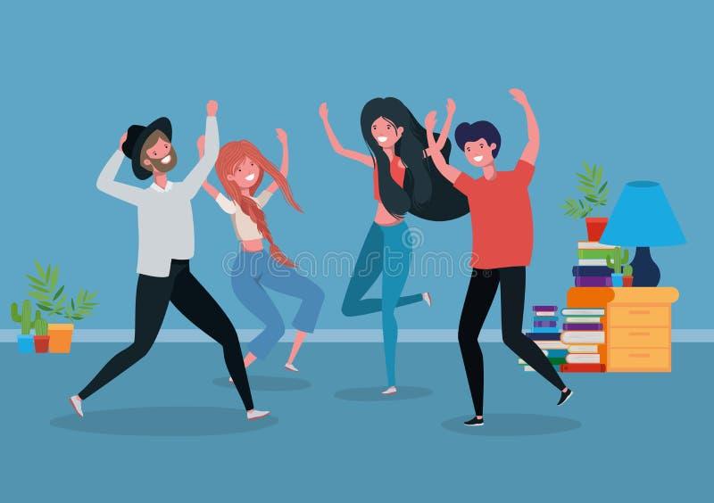 Νέοι που χορεύουν στο καθιστικό ελεύθερη απεικόνιση δικαιώματος