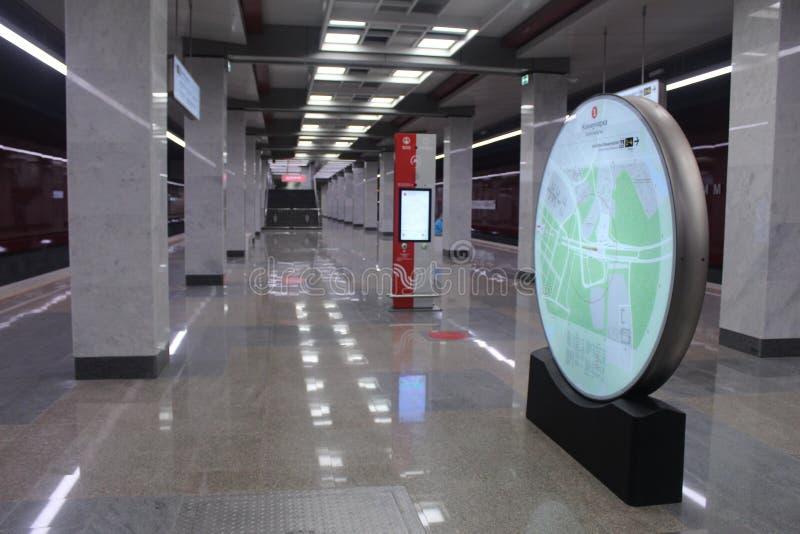 Νέοι σταθμοί της κόκκινης γραμμής του μετρό της Μόσχας Σταθμός Kommunarka στοκ εικόνα με δικαίωμα ελεύθερης χρήσης